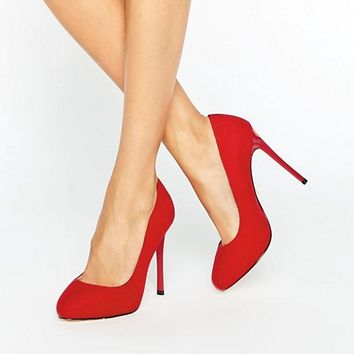 Faith Wide Fit Candy Red Court Shoes at asos.com