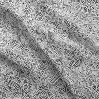 Grey and white swirls doodles fabric - savousepate - Spoonflower