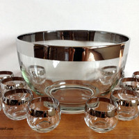 Vintage Mid Century Dorothy Thorpe Style Silver Rimmed Punch Bowl Set