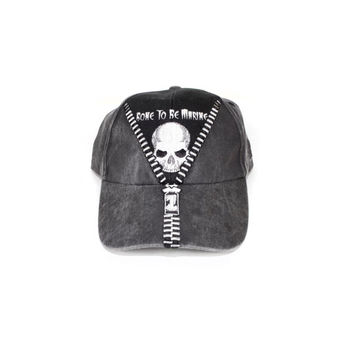 """90s """"BONE to be MARINE"""" hat - vintage 1990s - baseball cap - marines - embroidered skull patch - charcoal black"""