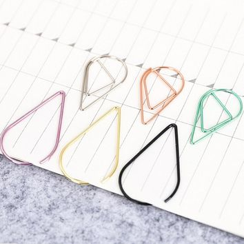 funny kawaii bookmark Metal Material Water Drop Shape Paper Clips office shool stationery marking clips 10 pcs