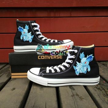 Pokemon Go Women Men Converse All Star Boys Girls Shoes Nidorina Design Hand Painted  High Top All Star Sneakers Creative Gifts