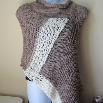 Knit Poncho, color block cowl neck- LARGE, Wool blend