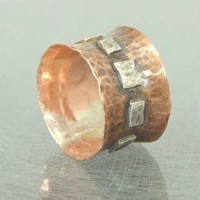 Ring Square and Round Mixed Metal Sterling and Copper by ExCognito