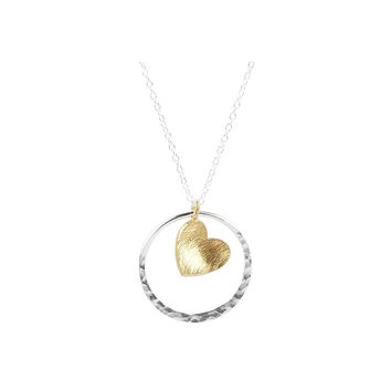 24ct Yellow Gold Vermeil Heart in Sterling Silver Circle Necklace