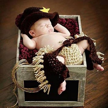 Baby Newborn Photography Props Gentleman Cowboy Knitting Soft Baby Caps Hat Pants Set Baby Photography Accessories