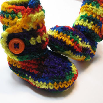 Crochet baby booties.  Ankle boots.  Ready to ship.  0 to 6 months.  Rainbow.