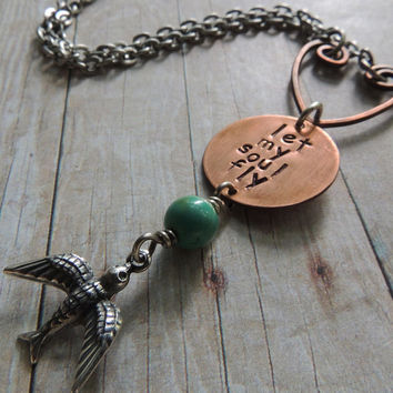 Boho Necklace, Quote Let My Soul Fly, Copper Pendant, Turquoise Bead, Flying Bird Charm, Mixed Metal, Free Spirit Necklace