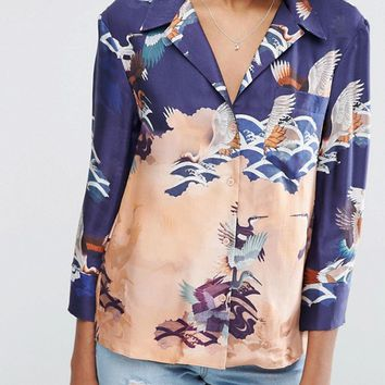 ASOS Premium Pajama Blouse In Bird Print at asos.com