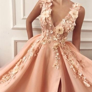 Elegant Lace Flowers V-neck Long Tulle Split Evening Gown Dresses Tulle Party Dress Evening dress Formal Gowns G5687