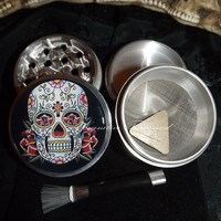 Day Of The Dead Sugar Skull Black Background 4 Piece Herb Grinder Pollen Screen