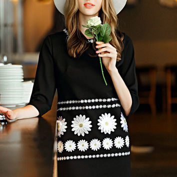 Black Round Neck 3/4 Sleeve Floral Embroidered Dress