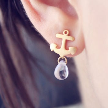 Tiny gold anchor studs - nautical jewelry - tiny glass drops
