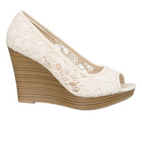 Mindy Crochet Wedge - Beige