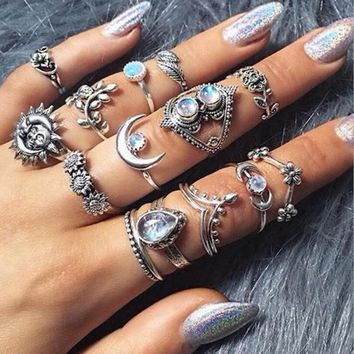 Meyfflin 14 pcs Bohemia Rings for Women Vintage Silver Color Big Sun Moon Finger Knuckle Ring Set Jewelry Punk Party Bague Femme