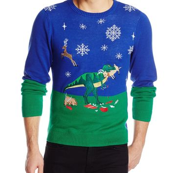 Alex Stevens Men's Dinosaur Reindeer Buffet Ugly Christmas Sweater