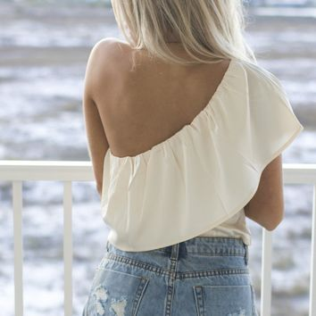All Too Well Champagne One Shoulder Top