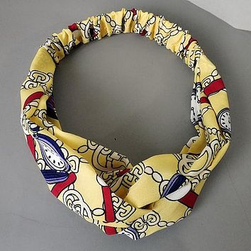 GUCCI Women Accessory Letters Clock Print Knot Hair Bands Headwrap Headband