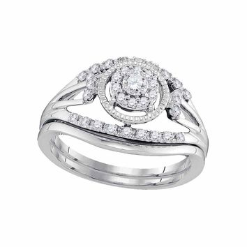 10kt White Gold Womens Round Diamond Openwork Antique-style Bridal Wedding Engagement Ring Band Set 1/3 Cttw