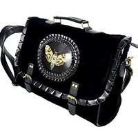 Moth with Death Skull Black Velvet Messenger Bag Purse Satchel Silence of the...