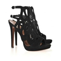 Alala Cutout suede sandals $250,distinguished shoes brand on-line shop, such as louboutins, Gianmarco Lorenzi, Alaia?Alexander McQueen.