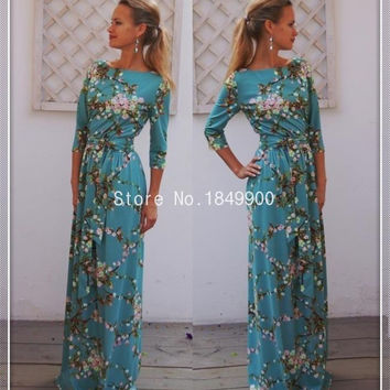 Women Printed Floral Maxi Dress O-Neck Three Quarter Sleeve Dress Casual Autumn Blue Long Dress Plus Size S--3XL Vestidos