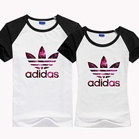Trendsetter ADIDAS Woman Fashion Print Gym Sport Short Sleeve Tunic Shirt Top Blouse