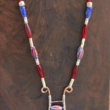 The Lyre Metalwork Pendant Wire Wrapped Copper with Vintage African Trade Beads Watermelon Beads OOAK Ethnic Boho Jewelry