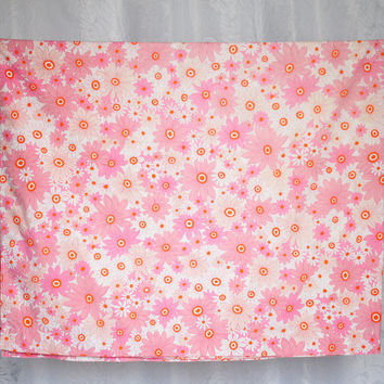 Vintage Sheridan Single Flat Bed Sheet Twin Single Pink & Orange Retro Floral Daisy Design Bed Sheet Poly Cotton