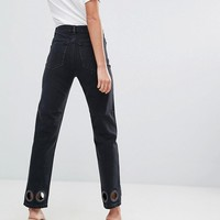 ASOS TALL FLORENCE Authentic Straight Leg Jeans in Washed Black with Oversize Rivets at asos.com