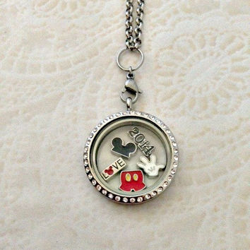 Living locket large silver stainless with crystals Mickey Mouse inspired and choice of stainless steel chain