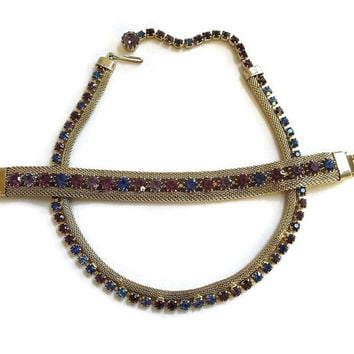 Vintage WEISS Purple & Blue Rhinestones Mesh Choker Necklace and Bracelet Demi Parure Set