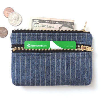 Wallet Coin Purse Double Zipper Pouch Stripe Denim