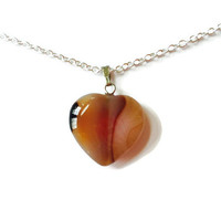 Apricot Agate heart necklace gemstone heart pendant chakra necklace healing necklace agate reiki necklace girlfriend necklace heart