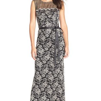 Women's Alex Evenings Illusion Floral Lace Gown,