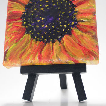 Red Sunflower Original  4 x 4 little  painting on Canvas