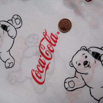 Vintage Coca Cola Coke Official Polar Bear Ice Cube TWIN Size Flat Bed Sheet Bedding Girl Boy Craft Fabric Gently Used Clean HTF