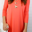 SZ LARGE Heaven's Bliss Coral Quarter Sleeve Solid Dress