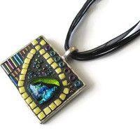 Mosaic Pendant Necklace of a yellow fish with dichroic glass cabochon, tiny ceramic tiles and iridescent beads