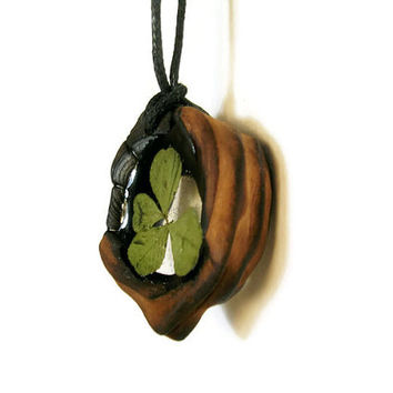 Beautiful pendant from the old wood, Clear Resin and Real Four Leaf Clover,  Eco Necklace, Eco Pendant, Beautiful Jewelry