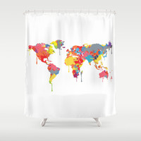 World Map Shower Curtain by ArtisanObscure Prints