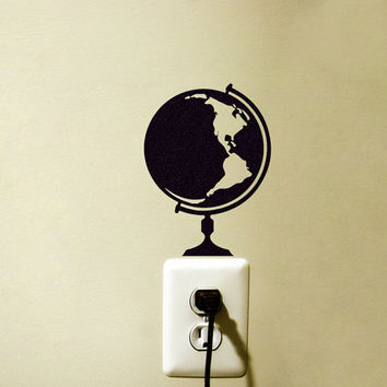 World Globe Fabric Wall Decal - World Map Laptop Sticker - Earth Sticker- Velvet Room Decor - Travel Wall Art