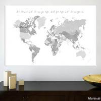 "36x24"" Printable world map with countries and names, distressed vintage, grayscale world map, black & white, diy travel pinboard - map 138 H"