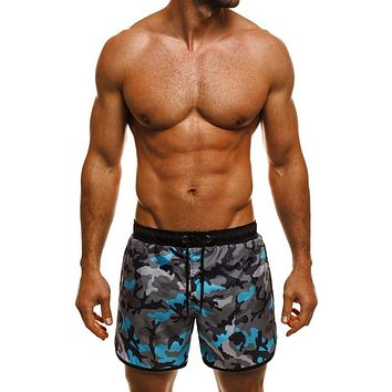 Male Board Shorts Military Camouflage Floral Print Sporting Loose Fitness Joggers Workouts Gyms Drawstring Hawaii Milk Silk