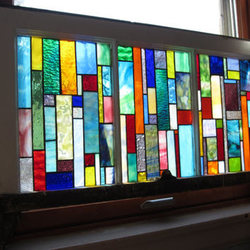 Vintage Chicago Bungalow 3 Pane Windows with new handmade stained glass