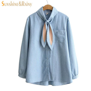 autumn Japanese women Bunny tie blouse stand collar  rabbit ear blouse sweet female lovely sweet shirts simple inside tops