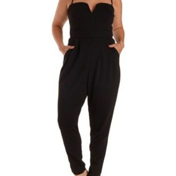 Plus Size Black Combo Plunging Sweetheart Jumpsuit by Charlotte Russe