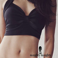Black Retro Sleep Bra Top Small in stock by NaughtyNaughty on Etsy