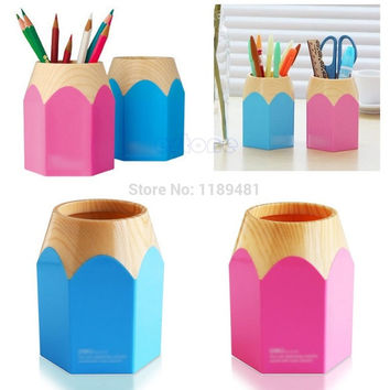 F85 Free Shipping Pink Blue Pencil Makeup Brush Holder Pen Cup Box Desk Organizer Kids Gift New