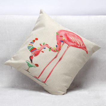 Cocktail Flamingo Cushion Cover